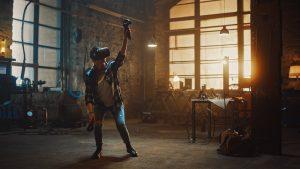 An artist using a VR headset