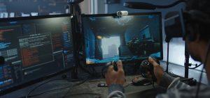 A digital artist using VR technology
